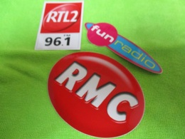 3 Autocollants RADIO FM  FUN RADIO RMC ET RTL2 96.1 .PETITS MODELES!!!!!. Neuf Non Décollé - Stickers