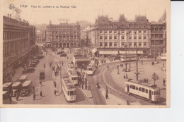 CP Animée 1936 : Les TRAMS , Place St.Lambert Et Du Maréchal Foch à LIEGE - Cartoline