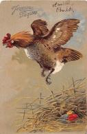 ¤¤   -    Carte Gauffrée  -  Poule , Oeufs  -  Joyeuses Pâques    -  ¤¤ - Birds