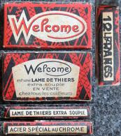 Ancienne Boîte De Lames De Rasoir, WELCOME Thiers 10 Lames Surchargé 12 Francs - Lames De Rasoir