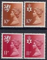 Timbres Neufs** De Grande Bretagne, N°807-808 Et 810-811 Yt , 1976, Série Courante, Reine Queen, Régionaux - Neufs