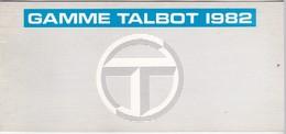 Catalogue - Gamme Talbot 1982 - Voitures