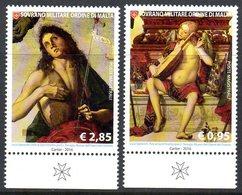 Ordre De Malte SMOM 1312/13 Tableaux, Peintures Saint Jean-Baptiste, Ange Au Luth, Musique - Malte (Ordre De)