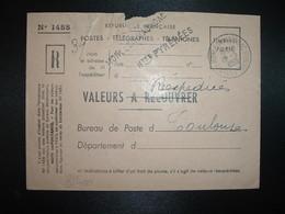 LETTRE VALEURS A RECOUVRER OBL.18-5 1955 MONLEON MAGNOAC HAUTES PYRENEES (65) + Griffes Linéaires MONLEON MAGNOAC + HTES - Marcophilie (Lettres)