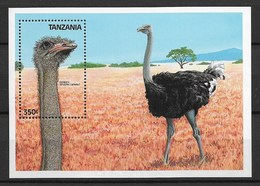 "TANZANIA 1989 Birds ""ostrich"" - Autruches"