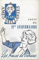 AMES VAILLANTES CARTE DU 21° ANNIVERSAIRE LES AMIES DE VIVIANE CARTE DE MEMBRE - Scouting