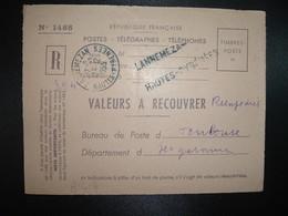 DEVANT VALEURS A RECOUVRER OBL.13-12 1955 LANNEMEZAN HAUTES-PYRENEES (65) Griffes Linéaires LANNEMEZAN + HAUTES-PYRENEES - Marcophilie (Lettres)