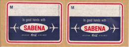 """Etiquettes Autocollantes Pour Bagages """"SABENA"""" - Dépliants Touristiques"""