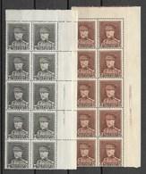 Albert Met Kepie, 1,25 En 2 Fr.blokken Van 10 Met Randdruk; Postgaaf - 1931-1934 Képi