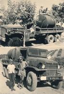 I46 - N° 38 - MILITARIA - Guerre D'Algérie - La Citerne Dans La Benne Du Dodge Ou Du GMC - Lot De 2 Photos - War, Military