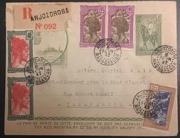Madagascar Entier De 1941 En Recommandé Local Avec Timbres En Complément Oblitérés De Anjozorobe - Brieven En Documenten