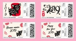 France 2019 TimbrEnLigne Nouvel An Chinois – Année Du Cochon - Chinese New Year Of The Pig - 4v MNH / Neuf - France