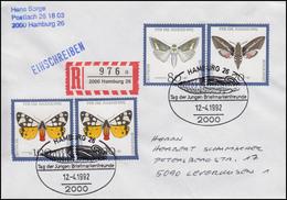 1603-1605 Gefährdete Nachtfalter 70, 80, 100 MiF R-Bf SSt Hamburg Raupe 12.4.92 - Schmetterlinge