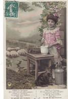 """CARTE FANTAISIE. SÉRIE COMPLÈTE  5 CARTES. ENFANTS CHANTENT  """" IL ÉTAIT UNE BERGÈRE """" ANNEE 1909 - Enfants"""