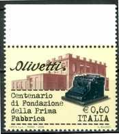 """ITALIA / ITALY 2008** - Centenario Fondazione Prima Fabbrica """"Olivetti"""" -  1 Val. MNH, Come Da Scansione - Fabbriche E Imprese"""