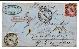 N° Yv. 15-16 (Mi 16-17)CÖLN BAHNHOF 5.8 (1869) S/Lettre RECOMMANDEE Vers Lindenberg - Norddeutscher Postbezirk (Confederazione Germ. Del Nord)