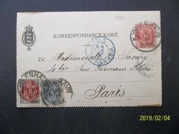 Danmark: 1880 Uprated Postal Card To Paris (#TM2) - Denmark