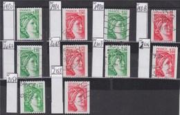 = Sabine De Gandon Roulettes 1980 1981 1981A 1981B 2062 2063 2103 2104 2157 2158 Le Lot Oblitéré - 1977-81 Sabine Of Gandon