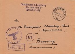 Env Frei Durch Ablösung Reich Obl STRASSBURG (ELS) 1 Du 01.8.44 Adressée à Strassburg - Postmark Collection (Covers)