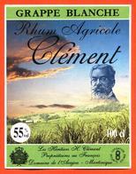 étiquette De Rhum Agricole Clement Grappe Blanche Les Heritiers Clément à La Martinique - 100 Cl - Rhum