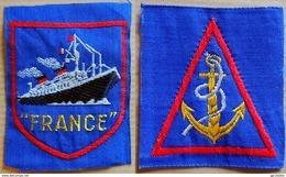 MARINE 2 Anciens écussons Brodés, Patch à Coudre Paquebot France & Ancre Marine - Blazoenen (textiel)