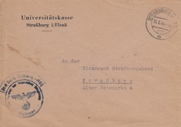Env Frei Durch Ablösung Reich Obl STRASSBURG (ELS) 1 Du 15.8.44 Adressée à Strassburg - Postmark Collection (Covers)
