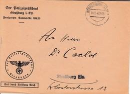 Env Frei Durch Ablösung Reich Obl STRASSBURG (ELS) 1 Du 14.2.42 Adressée à Strassburg - Postmark Collection (Covers)