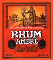 étiquette De Rhum Ambré Pur Antilles - 50 Cl - Rhum