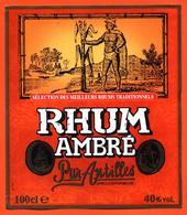 étiquette De Rhum Ambré Pur Antilles - 100 Cl - Rhum