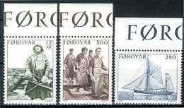 FOROYAR 1984** - Peschereggio / Fishing - 3 Val. MNH, Come Da Scansione. - Isole Faroer