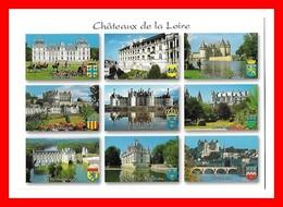 4 CPSM/gf  Châteaux De La Loire, Carte Différentes...I0438 - Centre-Val De Loire