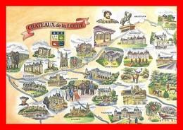 4 CPSM/gf  Châteaux De La Loire, Carte Différentes...I0441 - Centre-Val De Loire