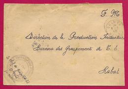 Enveloppe Avec Tampon Groupe De Travailleurs Étrangers - Voyagée D'Oulmès à Destination De Rabat - Maroc (1891-1956)
