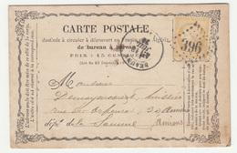 France, Carte Postale Postcard Travelled 187? Beaune Pmk B190201 - 1871-1875 Ceres