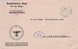 Env Frei Durch Ablösung Reich Obl STRASSBURG (ELS) 1 Du 08.11.44 Adressée à Kolmar - Postmark Collection (Covers)