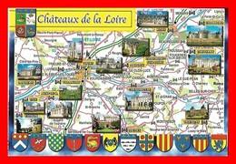 4 CPSM/gf  Châteaux De La Loire, Carte Différentes...I0442 - Centre-Val De Loire