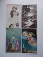 Lot 4 Vintage, Romantiek, Amitiès, Liefde, Amour, Begin 1900, Folklore, Wensen, Bloemen,  JOYEUX NOËL..... # 14 - Autres