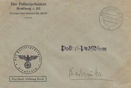 Env Frei Durch Ablösung Reich Obl STRASSBURG (ELS) 1 Du 27.5.42 Adressée à Karlsruhe - Postmark Collection (Covers)
