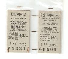BIGL--00053-- BIGLIETTO FERROVIE DELLO STATO-1 CLASSE-BARI-ROMA TERMINI CON SUPPLEMENTO RAPIDO  26-06-1970 - Treni