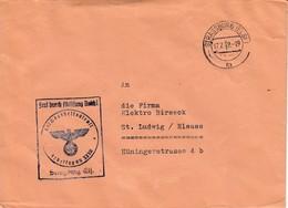 Env Frei Durch Ablösung Reich Obl STRASSBURG (ELS) 1 Du 17.7.42 Adressée à St Ludwig - Postmark Collection (Covers)