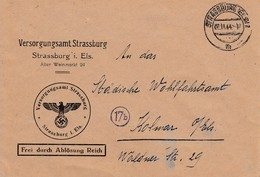 Env Frei Durch Ablösung Reich Obl STRASSBURG (ELS) 1 Du 22.11.44 Adressée à Kolmar - Postmark Collection (Covers)