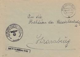 Env Frei Durch Ablösung Reich Obl STRASSBURG (ELS) 1 Du 20.4.45 Adressée à Strassburg - Postmark Collection (Covers)