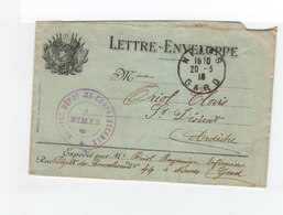 Lettre Enveloppe Aves Cachet De L'hôpital Dépôt Se Convalescents Nîmes. CAD N^mes Mars 1916. (1066x) - Guerre De 1914-18