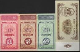 B 78 - MONGOLIE Lot De 4 Billets états Neufs - Mongolie
