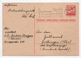 - CARTE POSTALE BADEN (Suisse) Pour VILLINGEN (Allemagne) 2.11.1952 - A ETUDIER - - Ganzsachen