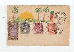 Sur Carte Avec Dessin Naïf 3 Types Blanc Et Un Timbre Sénégal Oblitérés Dakar Colis Postaux Sénégal 1930. (1069x) - Sénégal (1887-1944)