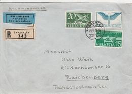 Suisse Lettre Recommandée Langenthal Pour La Tchécoslovaquie 1938 - Marcophilie