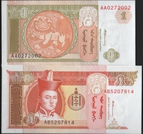 B 82 - MONGOLIE Lot De 2 Billets De 1 Et 5 Tugrik états Neufs - Mongolie