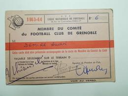 Document Carte Membre Comité Football Club Grenoble 1963/1964 (51/52) - Vieux Papiers