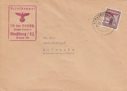 Env Affr Dienstmarke 161 Obl STRASSBURG (ELS) 2 Du 23.7.42 Adressée à Molsheim - Marcophilie (Lettres)